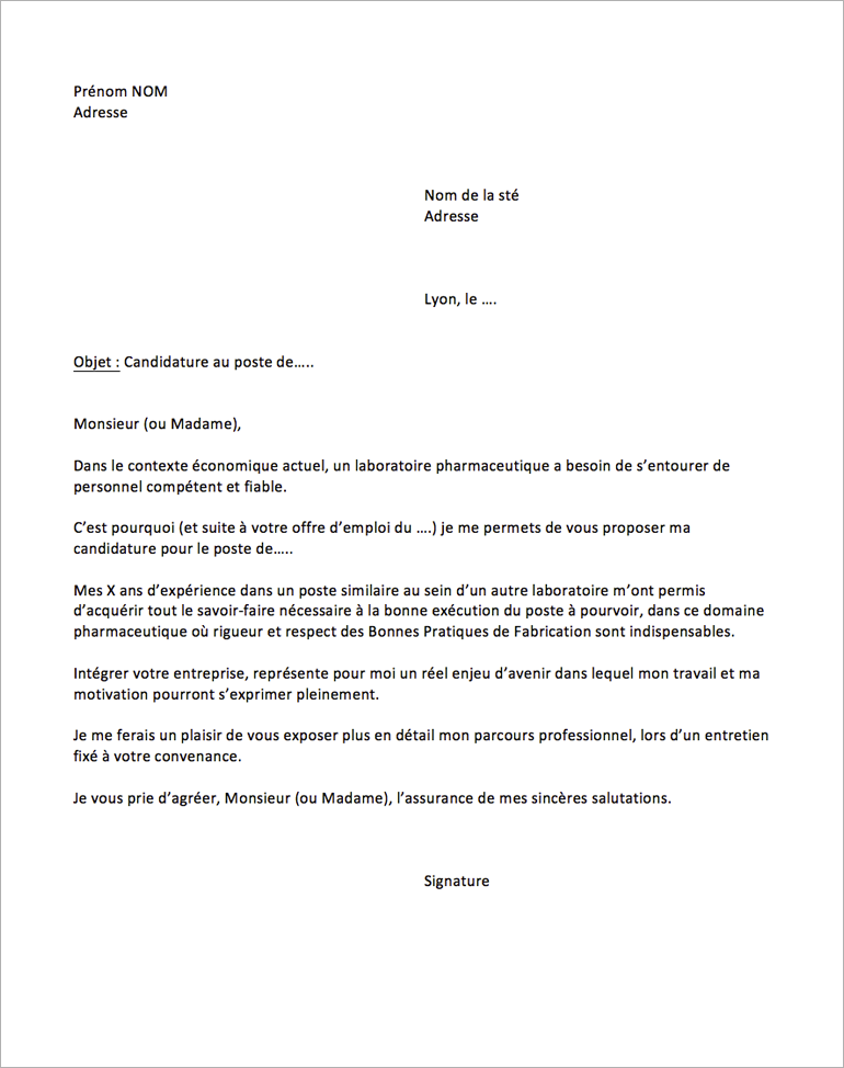 modele lettre de motivation laboratoire pharmaceutique